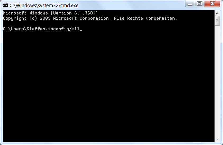 Command Console ipconfig/all
