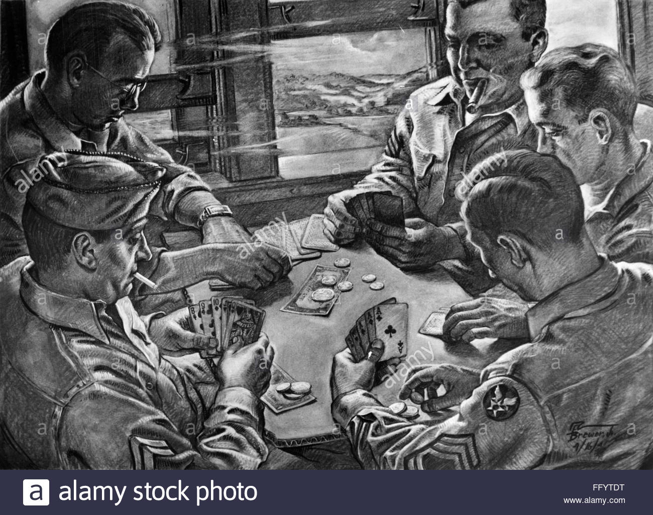 world-war-ii-card-game-nen-route-american-soldiers-playing-a-game-FFYTDT.jpg