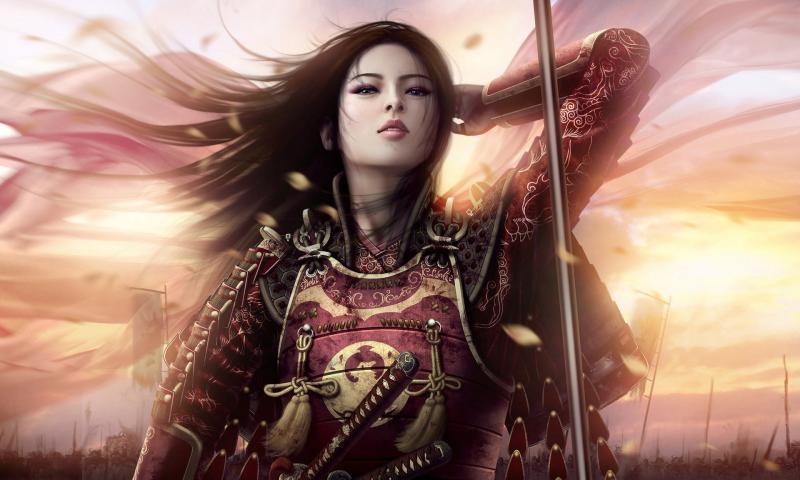 women-sunsets-samurai-armor-asians-artwork-realistic-warriors-soft-shading-480x800.jpg